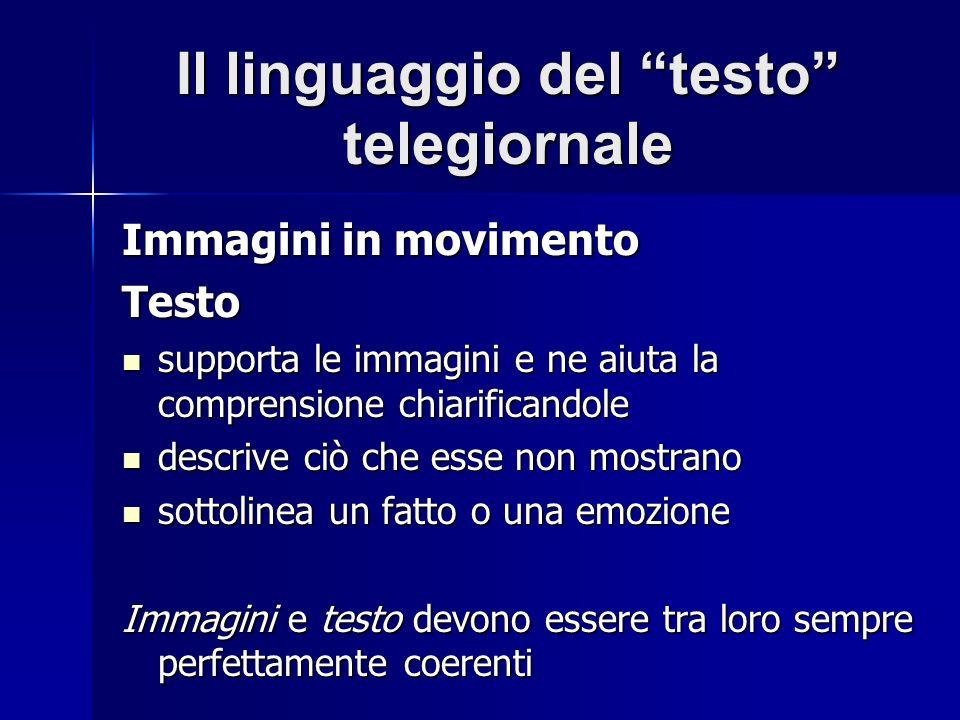 Il linguaggio del testo telegiornale Immagini in movimento Testo supporta le immagini e ne aiuta la comprensione chiarificandole supporta le immagini