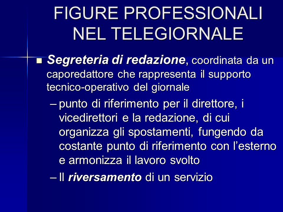 FIGURE PROFESSIONALI NEL TELEGIORNALE Segreteria di redazione, coordinata da un caporedattore che rappresenta il supporto tecnico-operativo del giorna