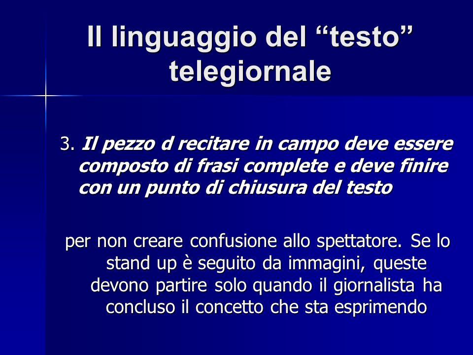 Il linguaggio del testo telegiornale 3.