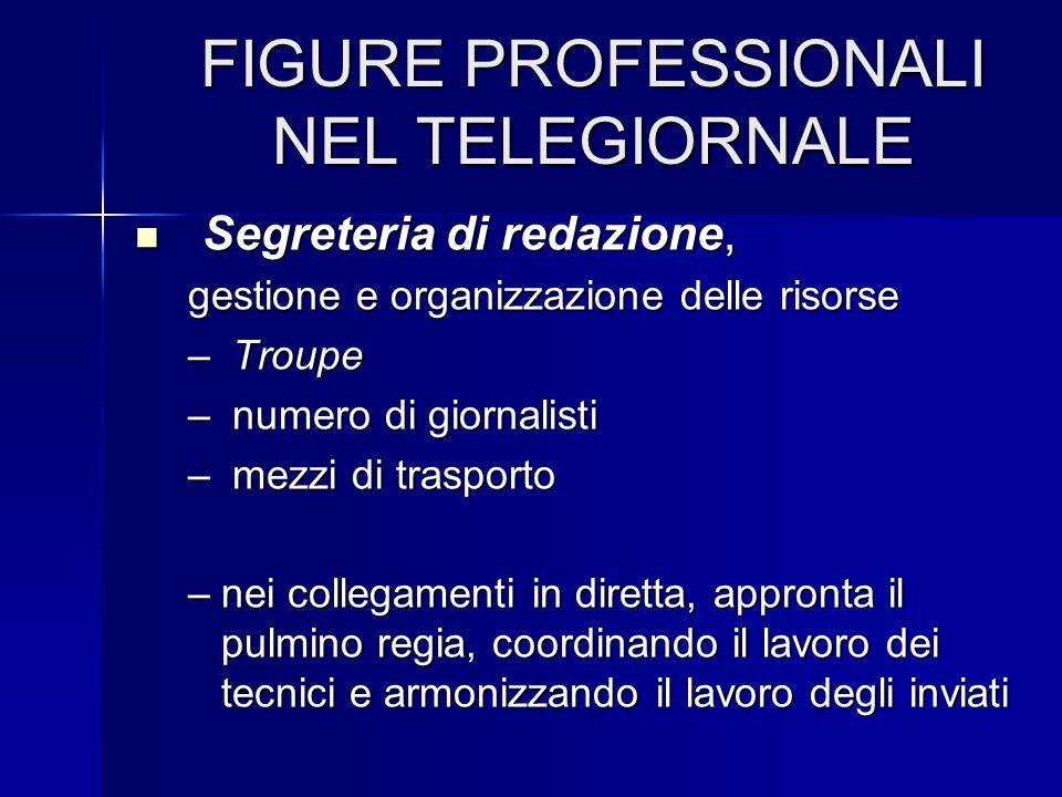 FIGURE PROFESSIONALI NEL TELEGIORNALE Segreteria di redazione, Segreteria di redazione, gestione e organizzazione delle risorse – Troupe – numero di g