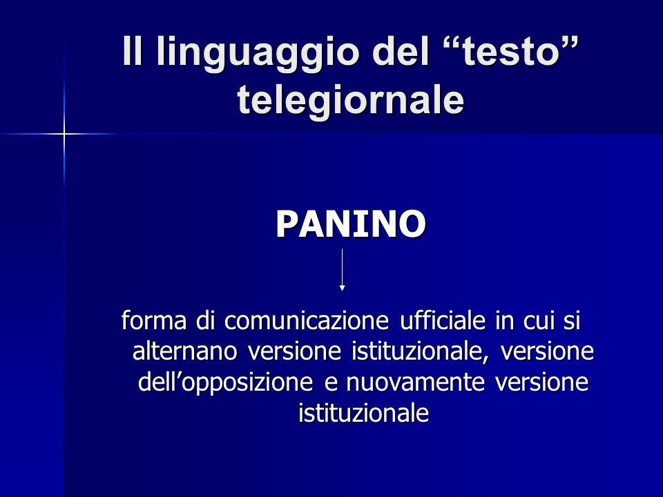 Il linguaggio del testo telegiornale PANINO forma di comunicazione ufficiale in cui si alternano versione istituzionale, versione dellopposizione e nuovamente versione istituzionale