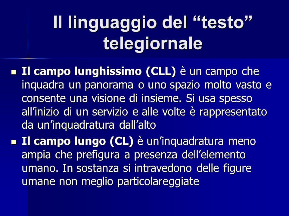 Il linguaggio del testo telegiornale Il campo lunghissimo (CLL) è un campo che inquadra un panorama o uno spazio molto vasto e consente una visione di