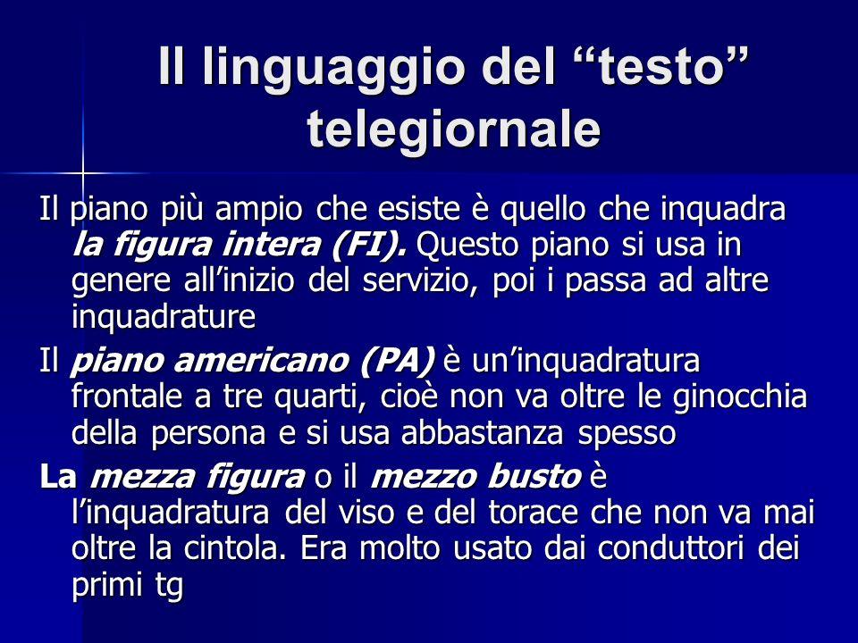 Il linguaggio del testo telegiornale Il piano più ampio che esiste è quello che inquadra la figura intera (FI). Questo piano si usa in genere allinizi