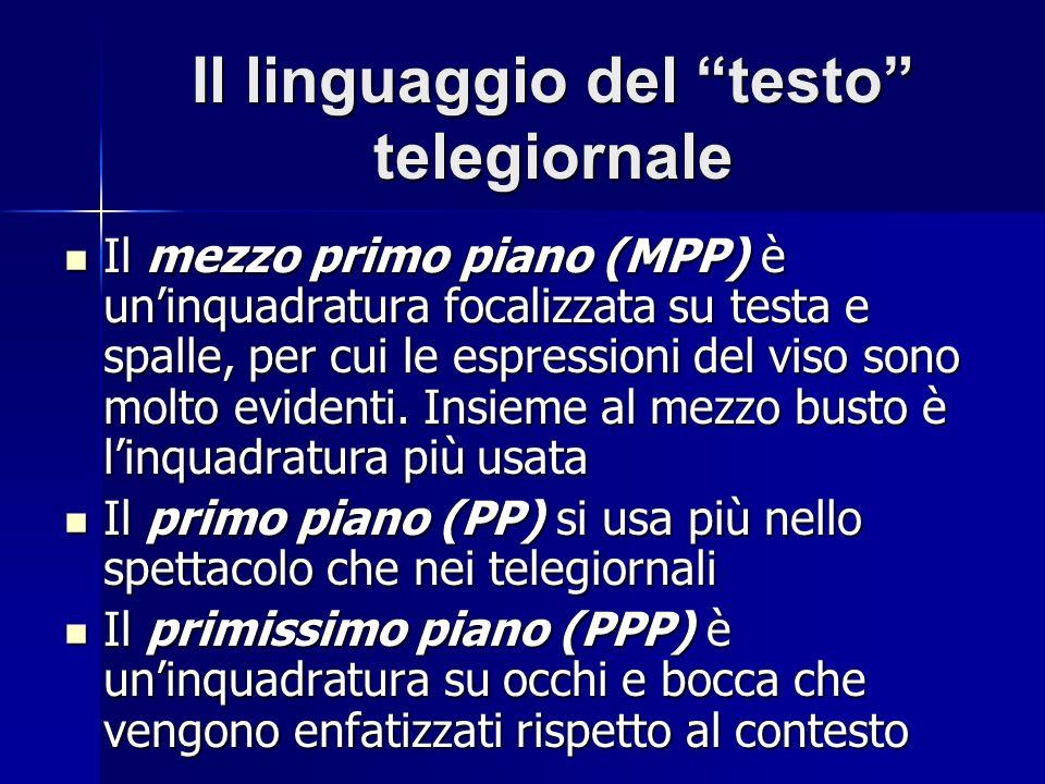 Il linguaggio del testo telegiornale Il mezzo primo piano (MPP) è uninquadratura focalizzata su testa e spalle, per cui le espressioni del viso sono m