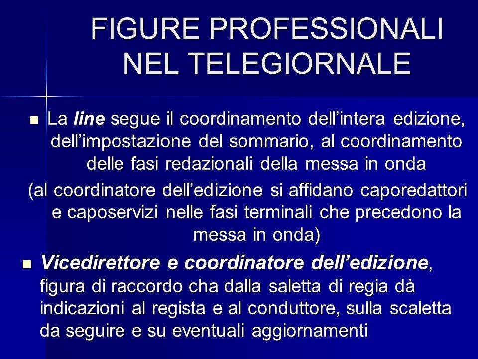 FIGURE PROFESSIONALI NEL TELEGIORNALE La line segue il coordinamento dellintera edizione, dellimpostazione del sommario, al coordinamento delle fasi r