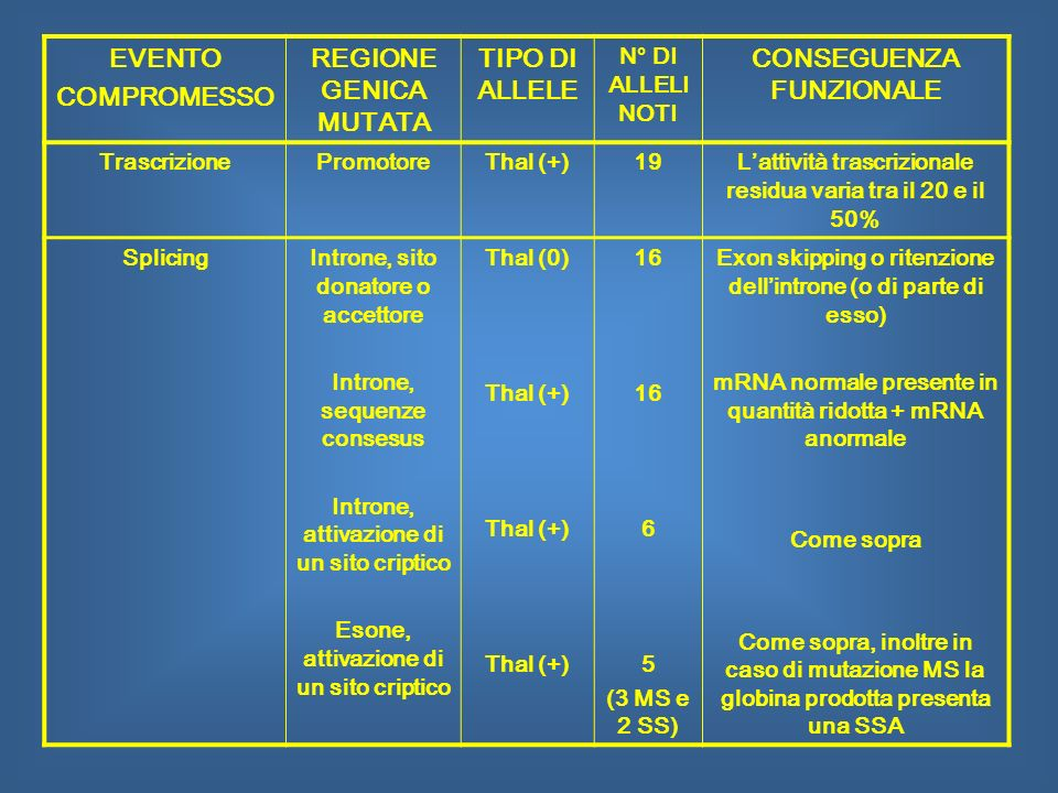 EVENTO COMPROMESSO REGIONE GENICA MUTATA TIPO DI ALLELE N° DI ALLELI NOTI CONSEGUENZA FUNZIONALE TrascrizionePromotoreThal (+)19Lattività trascriziona