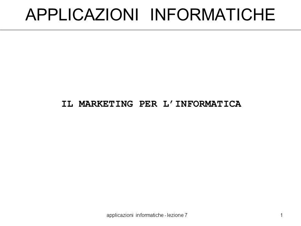 applicazioni informatiche - lezione 71 APPLICAZIONI INFORMATICHE IL MARKETING PER LINFORMATICA