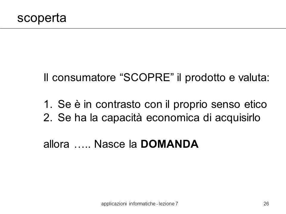 applicazioni informatiche - lezione 726 scoperta Il consumatore SCOPRE il prodotto e valuta: 1.Se è in contrasto con il proprio senso etico 2.Se ha la