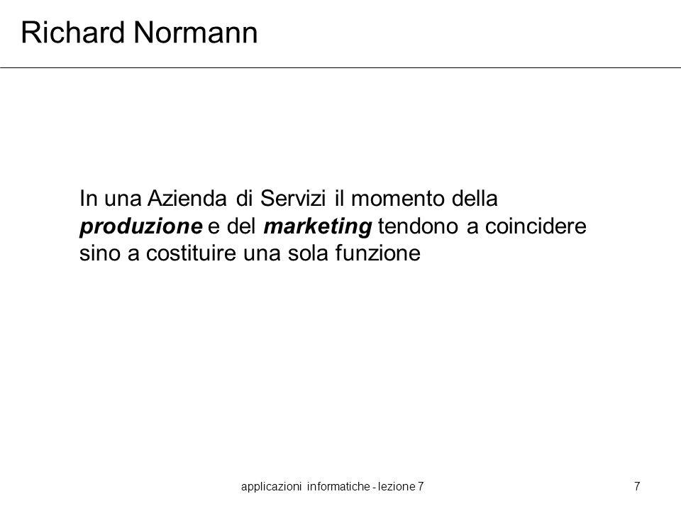applicazioni informatiche - lezione 77 Richard Normann In una Azienda di Servizi il momento della produzione e del marketing tendono a coincidere sino