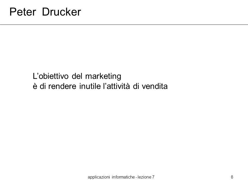 applicazioni informatiche - lezione 78 Peter Drucker Lobiettivo del marketing è di rendere inutile lattività di vendita