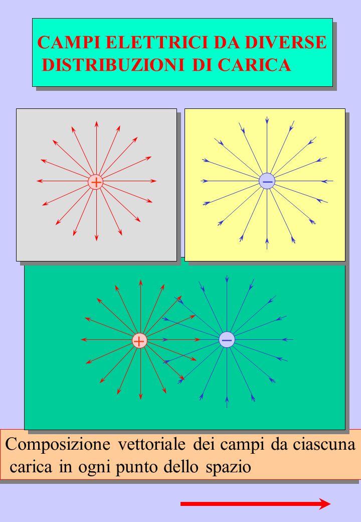 Composizione vettoriale dei campi da ciascuna carica in ogni punto dello spazio Composizione vettoriale dei campi da ciascuna carica in ogni punto del