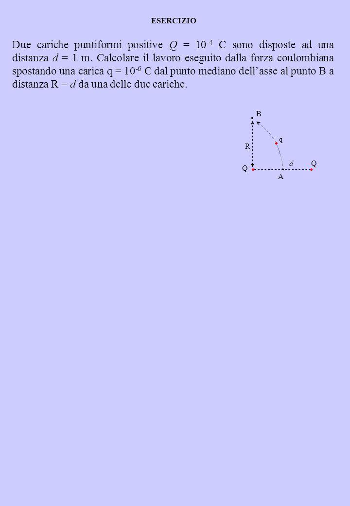 Due cariche puntiformi positive Q = 10 -4 C sono disposte ad una distanza d = 1 m. Calcolare il lavoro eseguito dalla forza coulombiana spostando una
