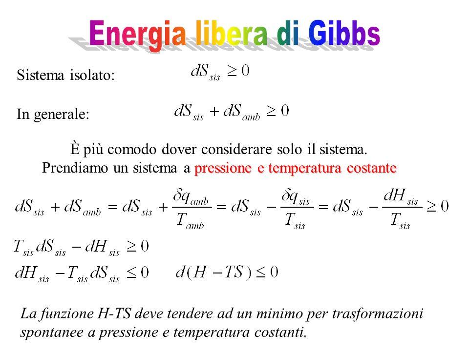 È più comodo dover considerare solo il sistema. pressione e temperatura costante Prendiamo un sistema a pressione e temperatura costante La funzione H