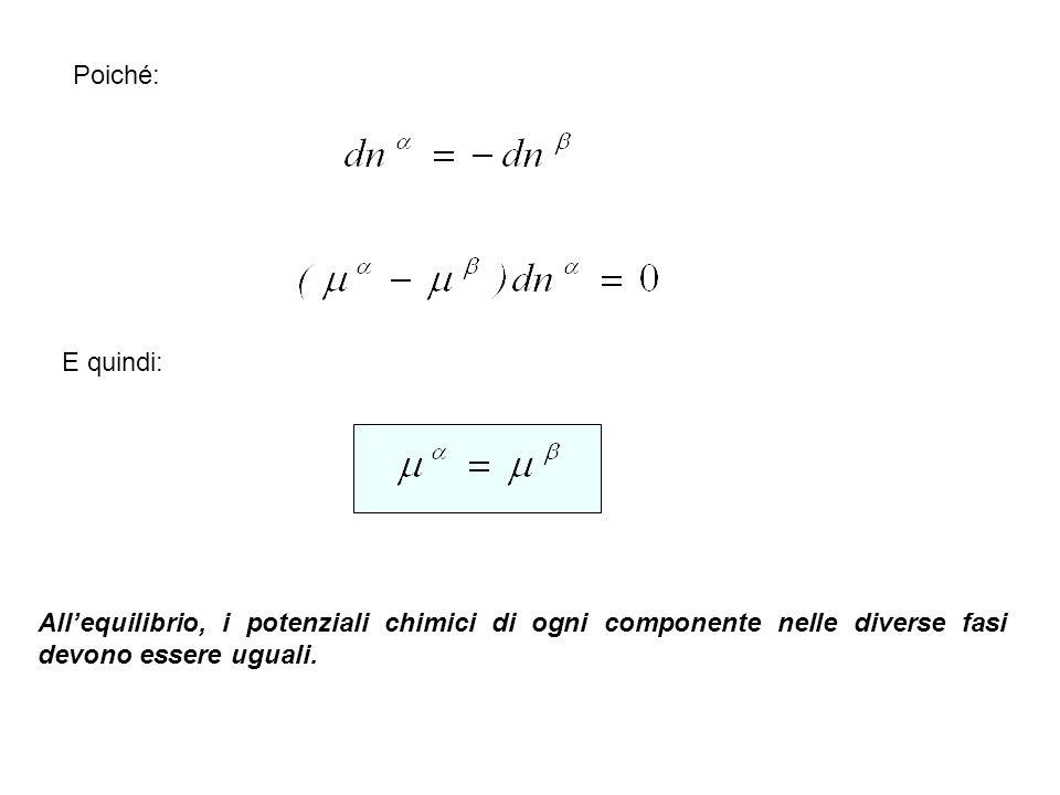 Poiché: E quindi: Allequilibrio, i potenziali chimici di ogni componente nelle diverse fasi devono essere uguali.