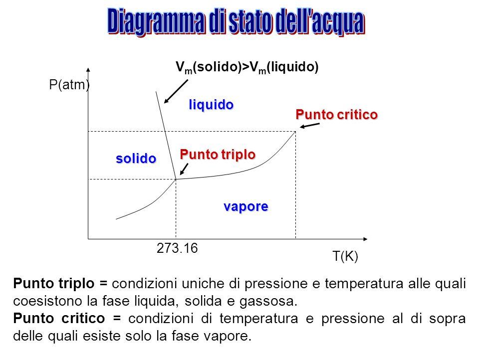 solido vapore liquido P(atm) T(K) 273.16 Punto triplo Punto critico V m (solido)>V m (liquido) Punto triplo = condizioni uniche di pressione e tempera