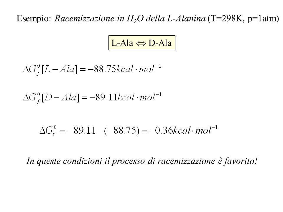 Esempio: Racemizzazione in H 2 O della L-Alanina (T=298K, p=1atm) L-Ala D-Ala In queste condizioni il processo di racemizzazione è favorito!