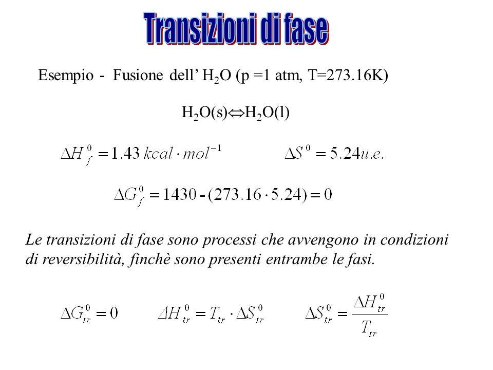 Esempio - Fusione dell H 2 O (p =1 atm, T=273.16K) H 2 O(s) H 2 O(l) Le transizioni di fase sono processi che avvengono in condizioni di reversibilità