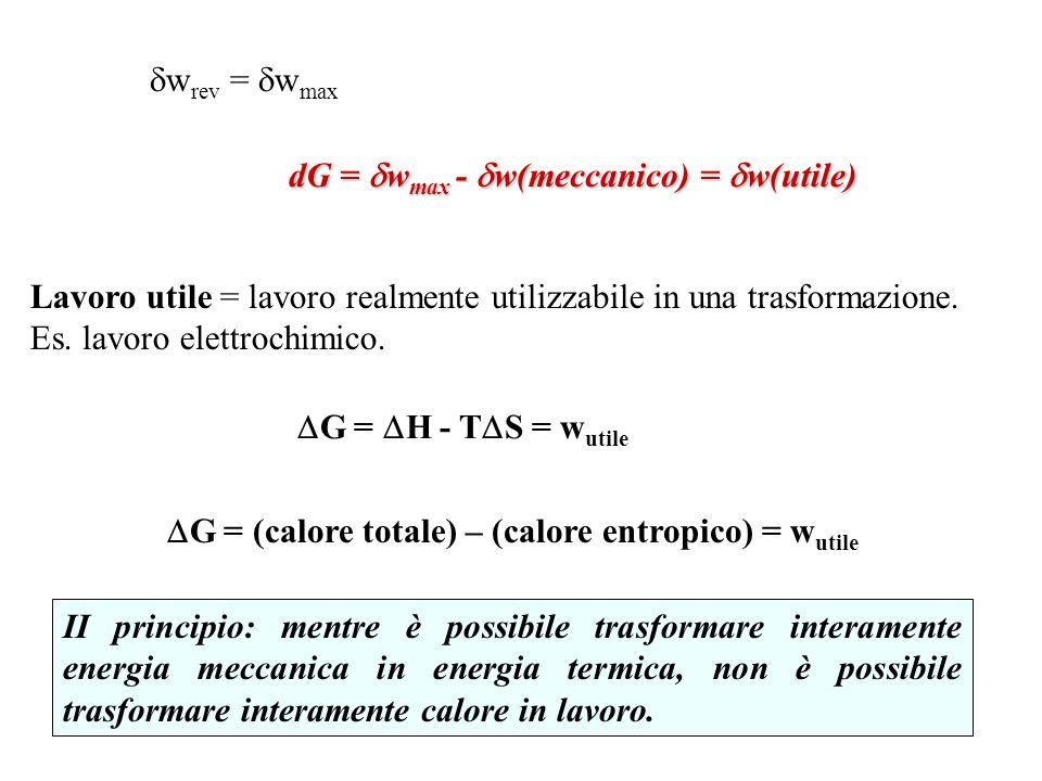 w rev = w max dG = w max - w(meccanico) = w(utile) Lavoro utile = lavoro realmente utilizzabile in una trasformazione. Es. lavoro elettrochimico. G =