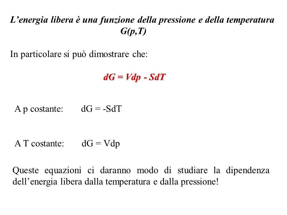 Lenergia libera è una funzione della pressione e della temperatura G(p,T) In particolare si può dimostrare che: dG = Vdp - SdT A p costante: dG = -SdT