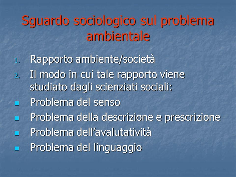 Sguardo sociologico sul problema ambientale 1.Rapporto ambiente/società 2.