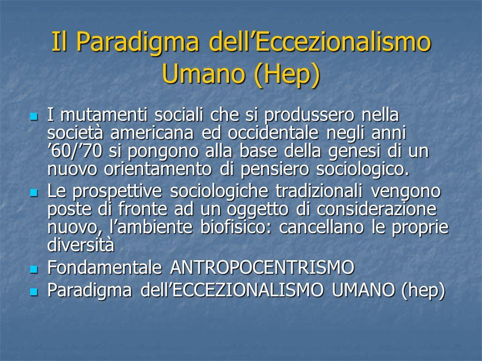 Il Paradigma dellEccezionalismo Umano (Hep) I mutamenti sociali che si produssero nella società americana ed occidentale negli anni 60/70 si pongono alla base della genesi di un nuovo orientamento di pensiero sociologico.