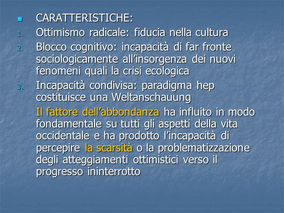 CARATTERISTICHE: CARATTERISTICHE: 1.Ottimismo radicale: fiducia nella cultura 2.