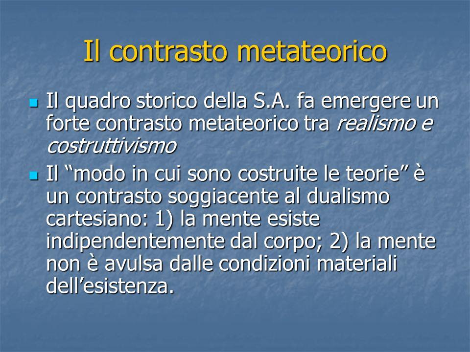 Il contrasto metateorico Il quadro storico della S.A.