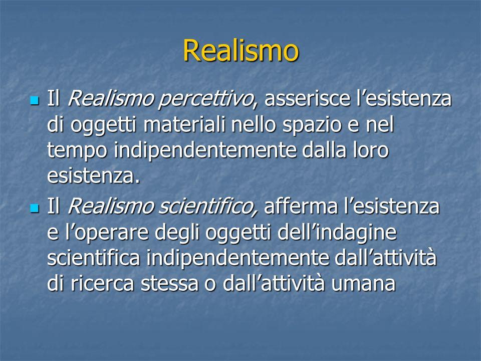 Realismo Il Realismo percettivo, asserisce lesistenza di oggetti materiali nello spazio e nel tempo indipendentemente dalla loro esistenza.