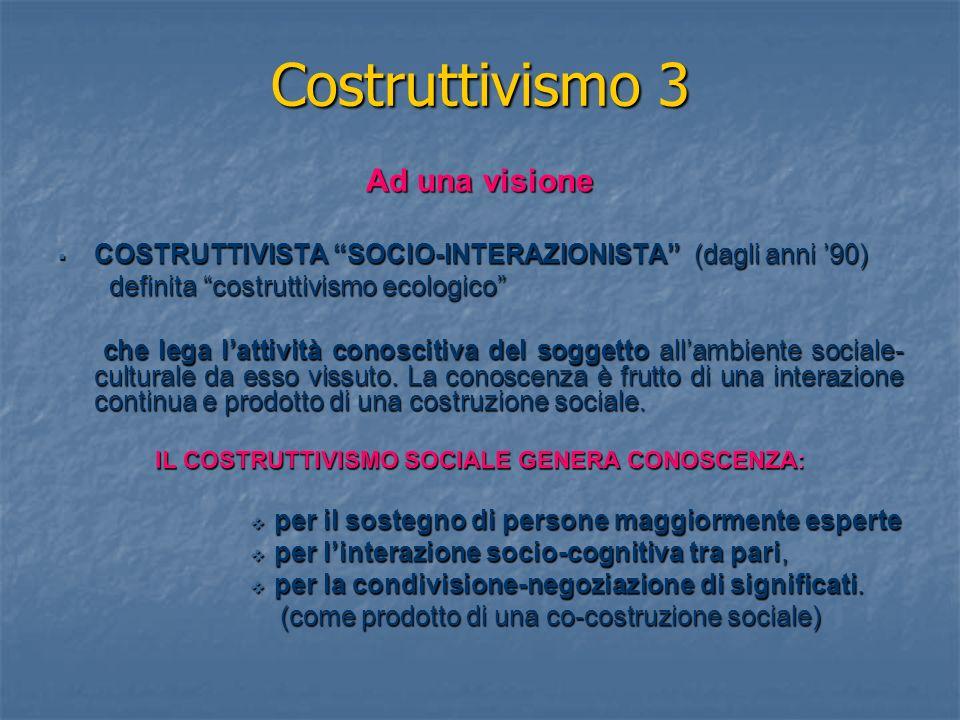 Costruttivismo 3 Ad una visione COSTRUTTIVISTA SOCIO-INTERAZIONISTA (dagli anni 90) COSTRUTTIVISTA SOCIO-INTERAZIONISTA (dagli anni 90) definita costruttivismo ecologico definita costruttivismo ecologico che lega lattività conoscitiva del soggetto allambiente sociale- culturale da esso vissuto.