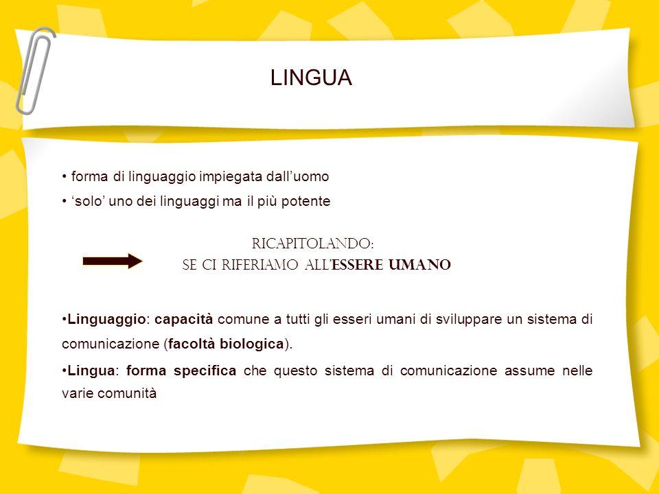 forma di linguaggio impiegata dalluomo solo uno dei linguaggi ma il più potente Linguaggio: capacità comune a tutti gli esseri umani di sviluppare un