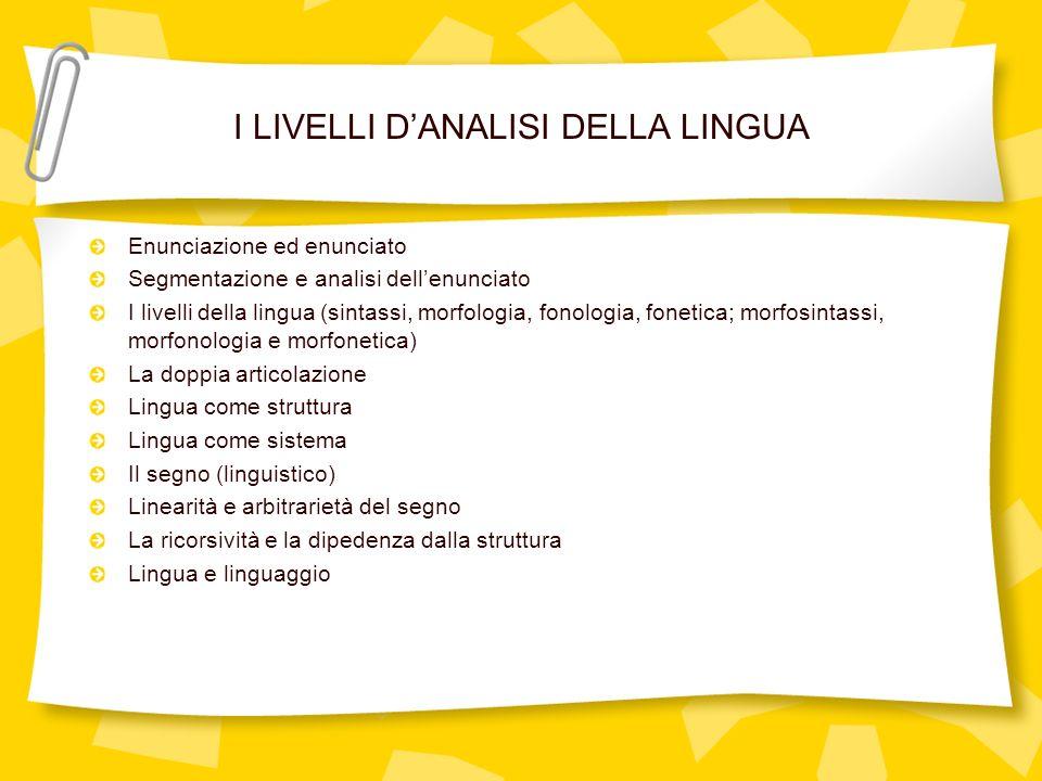 I LIVELLI DANALISI DELLA LINGUA Enunciazione ed enunciato Segmentazione e analisi dellenunciato I livelli della lingua (sintassi, morfologia, fonologi