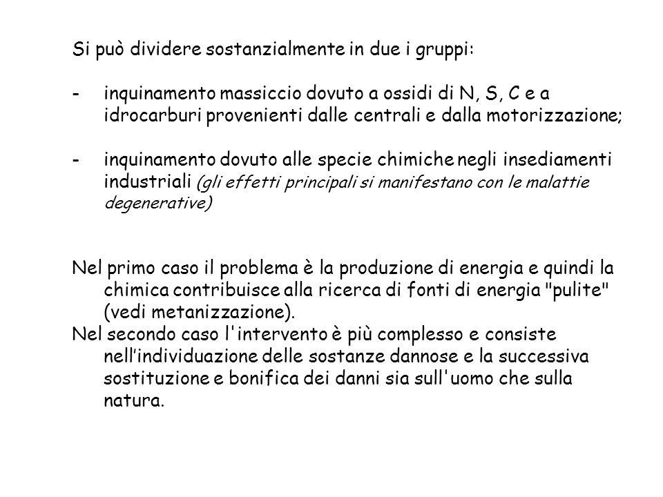 Si può dividere sostanzialmente in due i gruppi: -inquinamento massiccio dovuto a ossidi di N, S, C e a idrocarburi provenienti dalle centrali e dalla