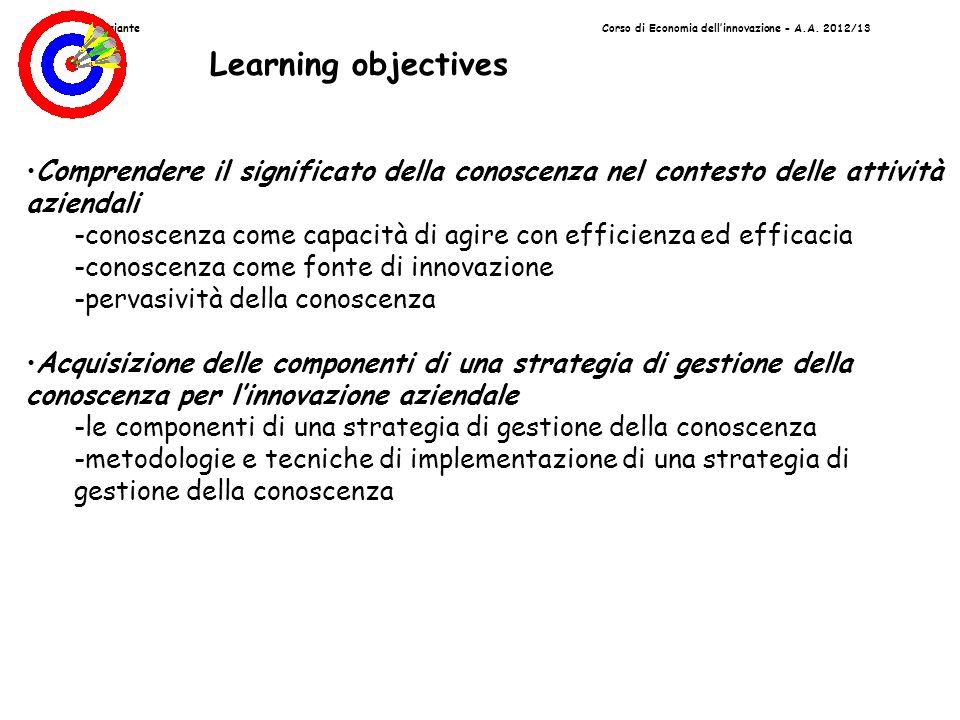 Prof. G.PassianteCorso di Economia dellinnovazione - A.A. 2012/13 Learning objectives Comprendere il significato della conoscenza nel contesto delle a