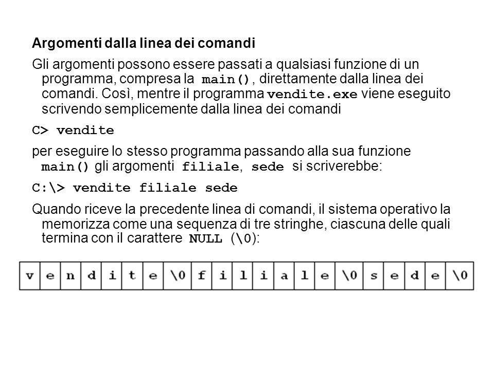 Argomenti dalla linea dei comandi Gli argomenti possono essere passati a qualsiasi funzione di un programma, compresa la main(), direttamente dalla linea dei comandi.