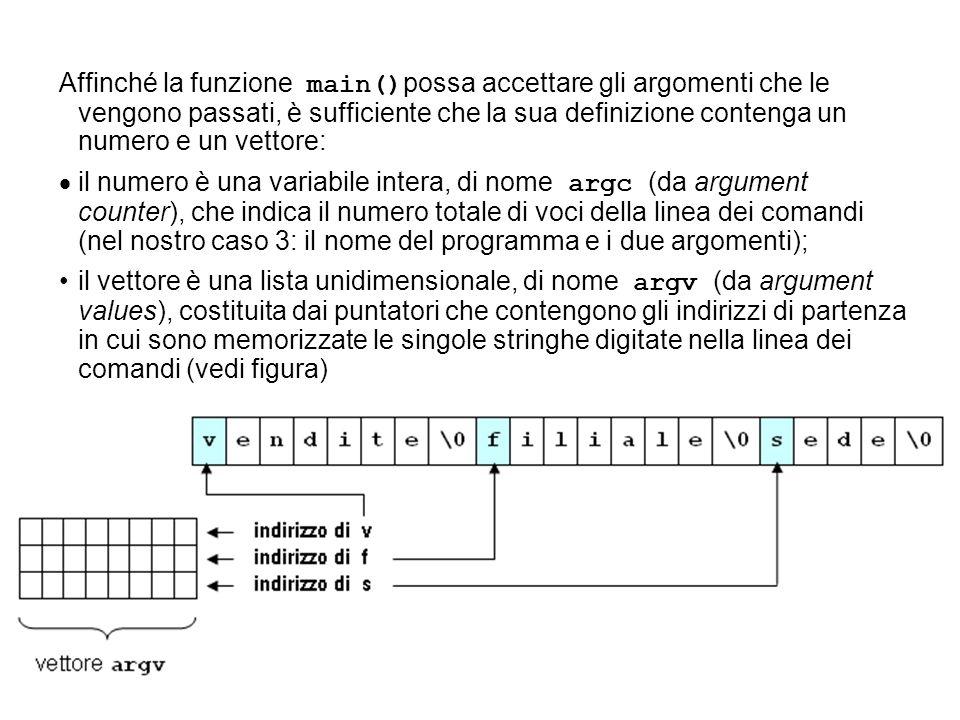 Affinché la funzione main() possa accettare gli argomenti che le vengono passati, è sufficiente che la sua definizione contenga un numero e un vettore: il numero è una variabile intera, di nome argc (da argument counter), che indica il numero totale di voci della linea dei comandi (nel nostro caso 3: il nome del programma e i due argomenti); il vettore è una lista unidimensionale, di nome argv (da argument values), costituita dai puntatori che contengono gli indirizzi di partenza in cui sono memorizzate le singole stringhe digitate nella linea dei comandi (vedi figura)