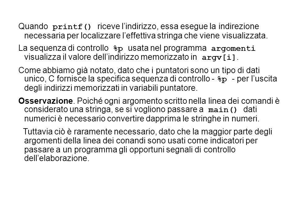 Quando printf() riceve lindirizzo, essa esegue la indirezione necessaria per localizzare leffettiva stringa che viene visualizzata.