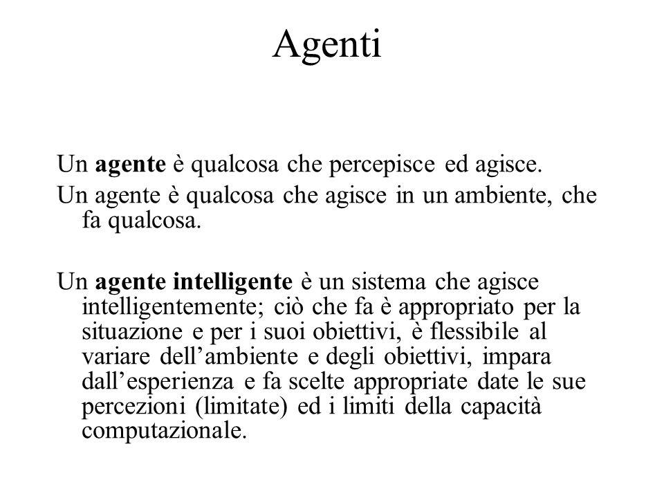 Agenti E importante capire i principi che rendono possibile realizzare un comportamento intelligente di un agente sia in un ambiente naturale che artificiale.