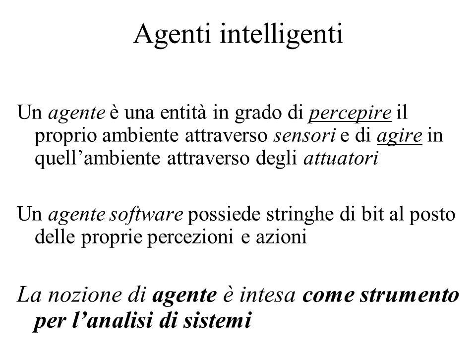 Agenti intelligenti Un agente è una entità in grado di percepire il proprio ambiente attraverso sensori e di agire in quellambiente attraverso degli attuatori Un agente software possiede stringhe di bit al posto delle proprie percezioni e azioni La nozione di agente è intesa come strumento per lanalisi di sistemi