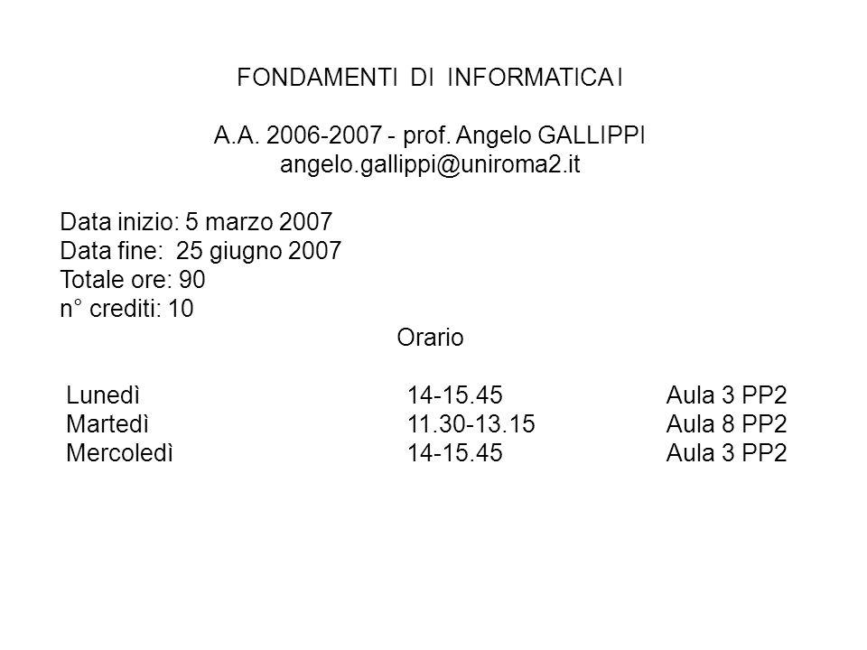 FONDAMENTI DI INFORMATICA I A.A. 2006-2007 - prof. Angelo GALLIPPI angelo.gallippi@uniroma2.it Data inizio: 5 marzo 2007 Data fine: 25 giugno 2007 Tot