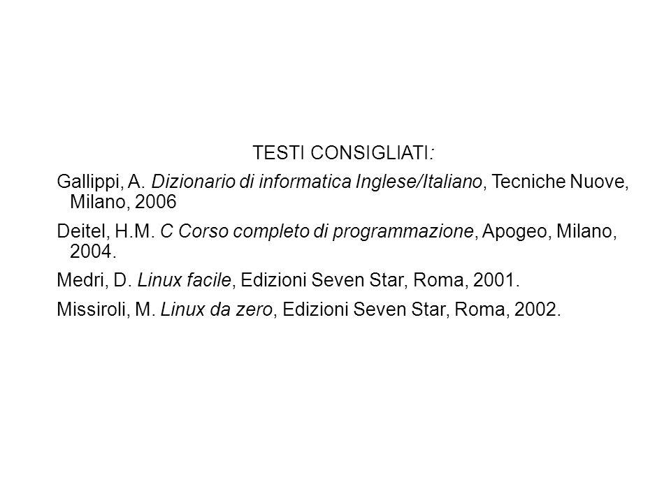 TESTI CONSIGLIATI: Gallippi, A. Dizionario di informatica Inglese/Italiano, Tecniche Nuove, Milano, 2006 Deitel, H.M. C Corso completo di programmazio