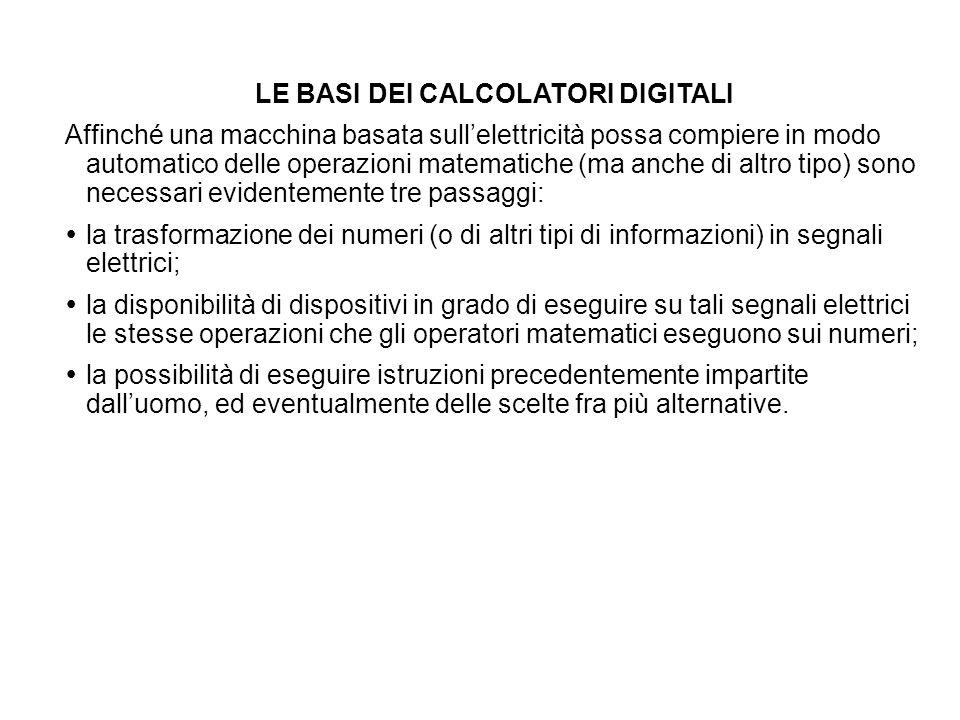 LE BASI DEI CALCOLATORI DIGITALI Affinché una macchina basata sullelettricità possa compiere in modo automatico delle operazioni matematiche (ma anche