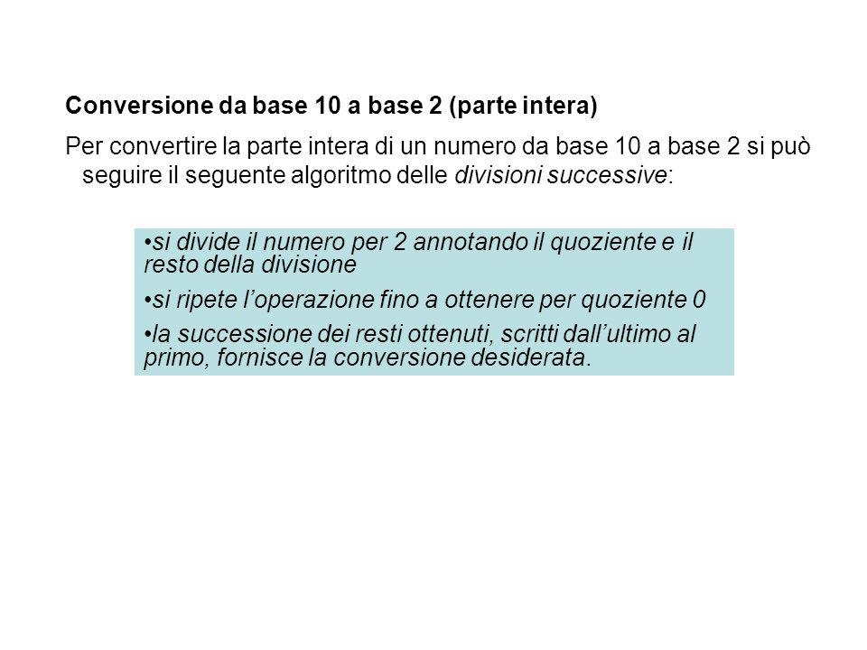 Conversione da base 10 a base 2 (parte intera) Per convertire la parte intera di un numero da base 10 a base 2 si può seguire il seguente algoritmo de