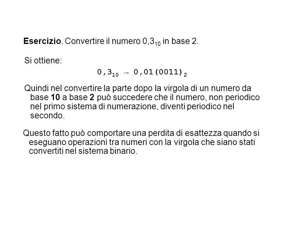 Esercizio. Convertire il numero 0,3 10 in base 2. Questo fatto può comportare una perdita di esattezza quando si eseguano operazioni tra numeri con la