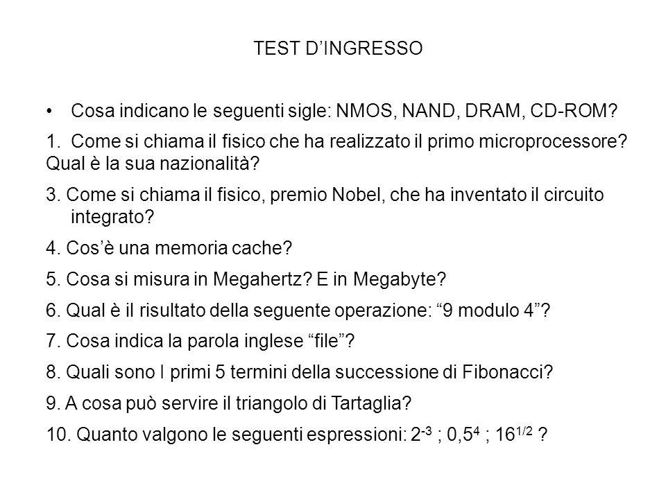 TEST DINGRESSO Cosa indicano le seguenti sigle: NMOS, NAND, DRAM, CD-ROM? 1.Come si chiama il fisico che ha realizzato il primo microprocessore? Qual