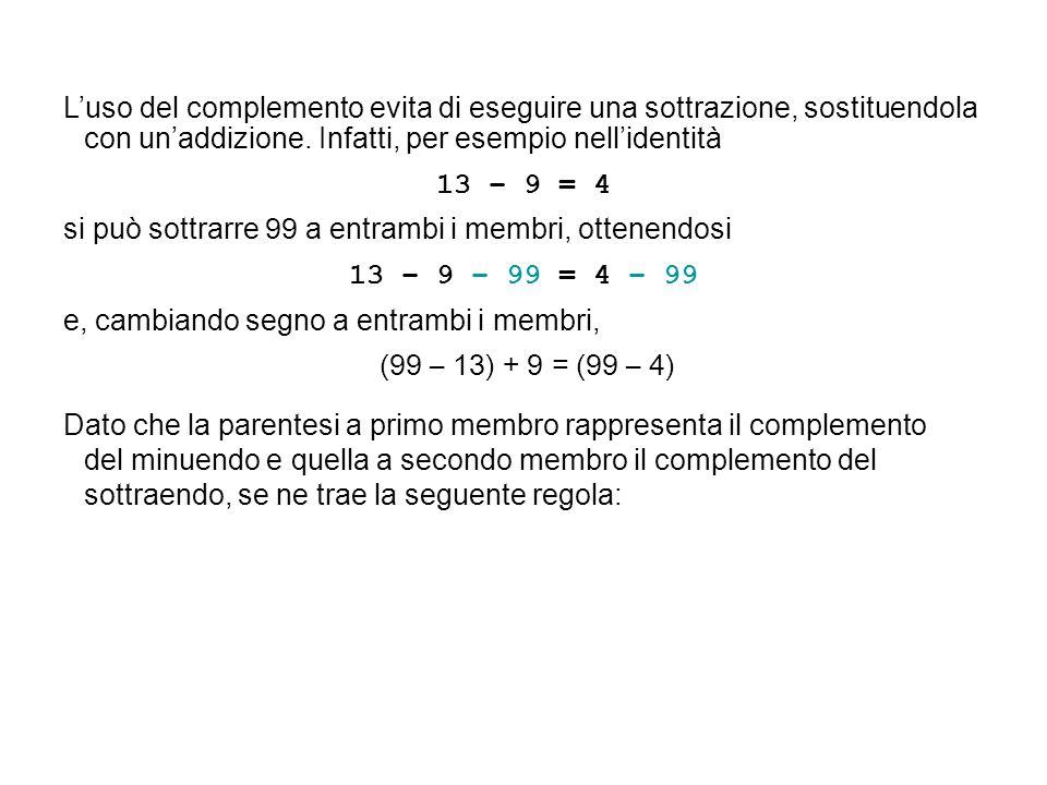 Luso del complemento evita di eseguire una sottrazione, sostituendola con unaddizione. Infatti, per esempio nellidentità 13 – 9 = 4 si può sottrarre 9