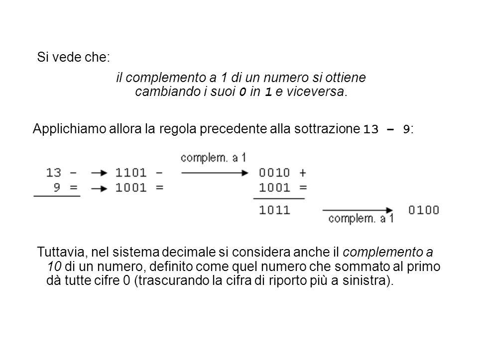 Applichiamo allora la regola precedente alla sottrazione 13 – 9 : Tuttavia, nel sistema decimale si considera anche il complemento a 10 di un numero,