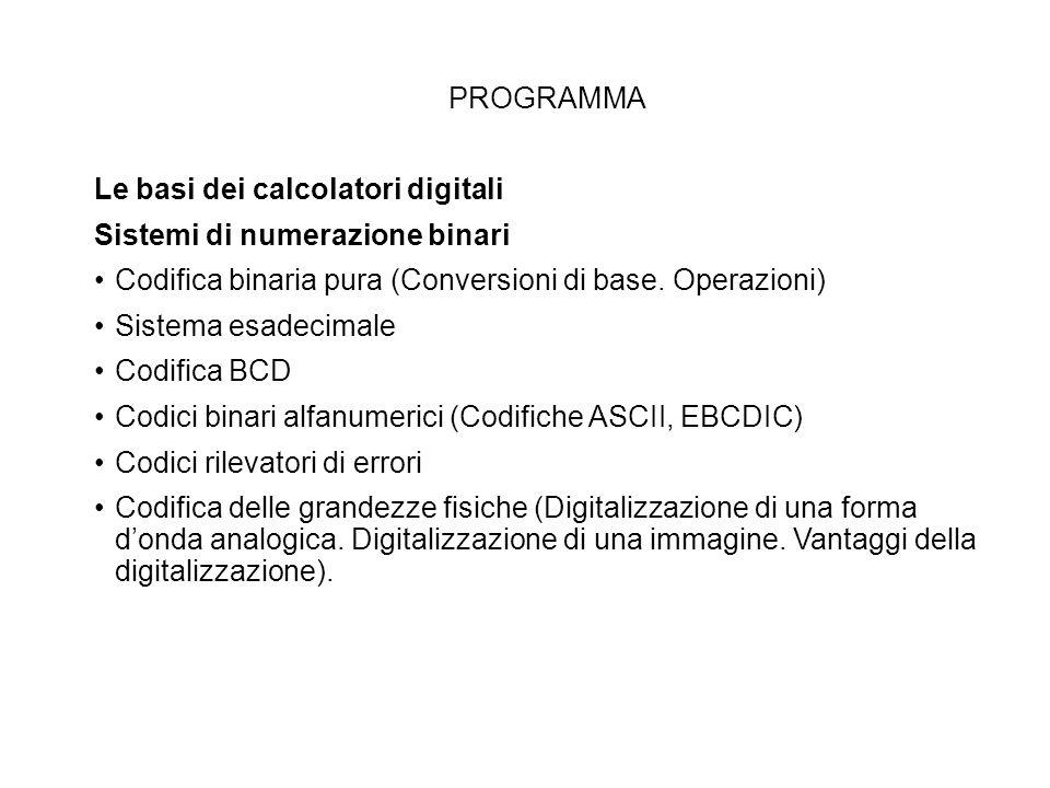 PROGRAMMA Le basi dei calcolatori digitali Sistemi di numerazione binari Codifica binaria pura (Conversioni di base. Operazioni) Sistema esadecimale C