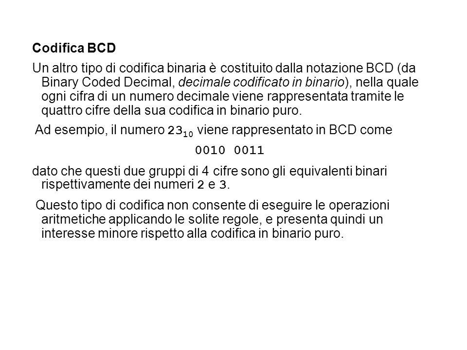 Codifica BCD Un altro tipo di codifica binaria è costituito dalla notazione BCD (da Binary Coded Decimal, decimale codificato in binario), nella quale