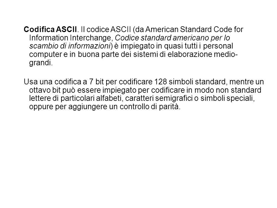 Codifica ASCII. Il codice ASCII (da American Standard Code for Information Interchange, Codice standard americano per lo scambio di informazioni) è im