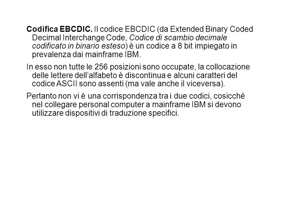 Codifica EBCDIC. Il codice EBCDIC (da Extended Binary Coded Decimal Interchange Code, Codice di scambio decimale codificato in binario esteso) è un co